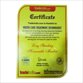 Water Care Certificat By Tradeindia